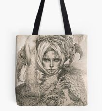Fairy lady with ermine and birds Tote Bag