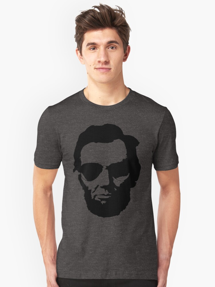 Cool Abe Lincoln with Aviator Sunglasses - Black Unisex T-Shirt Front