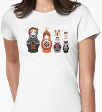 Russian Nesting Dolls – Red & Black Womens Fitted T-Shirt