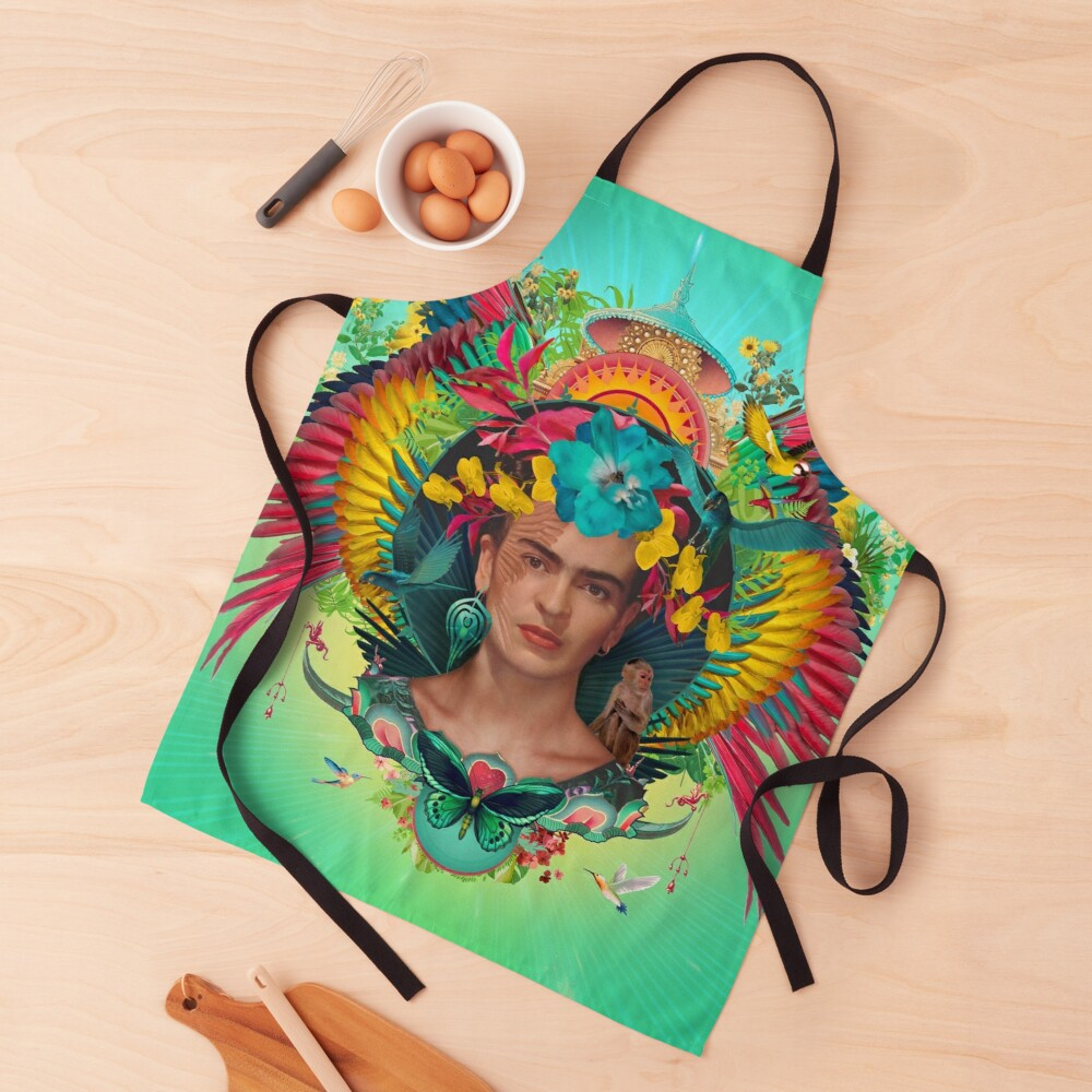Frida Kahlo Tribute Tropical Apron
