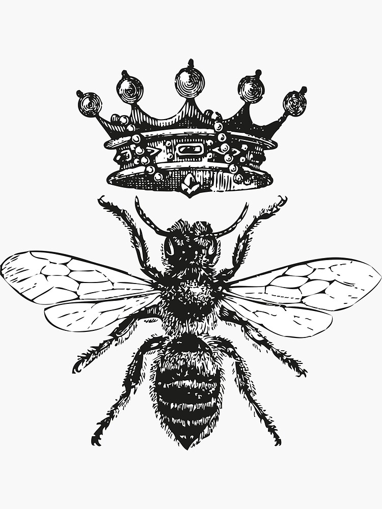Queen Bee | Vintage Honey Bees | Black and White |  by EclecticAtHeART
