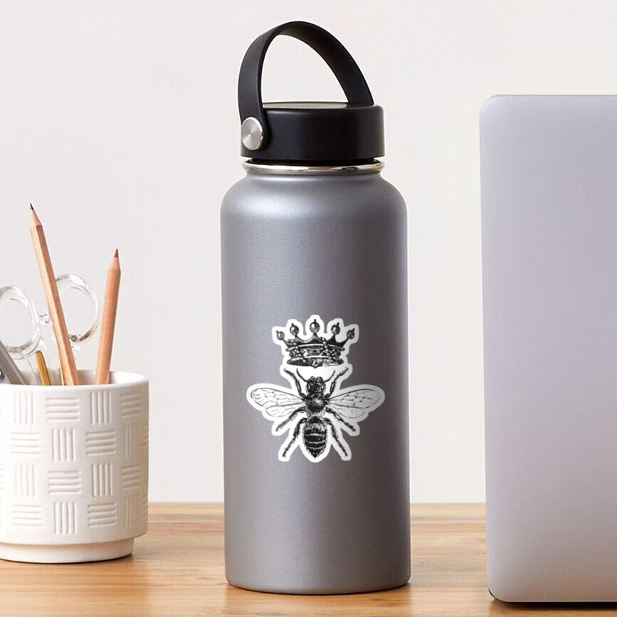 Queen Bee | Vintage Honey Bees | Black and White |  Sticker