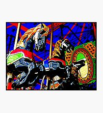 Wildly Galloping Carousel Horseys  Photographic Print