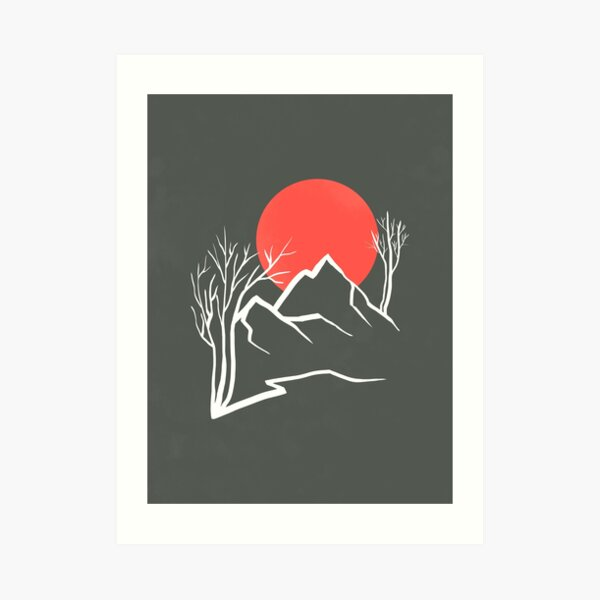 Minimalist line art landscape with a red sun, mountains and trees, lines and shapes abstract sunset illustration Art Print