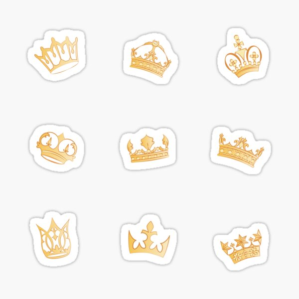 Couronnes royales dorées médiévales stickers Sticker