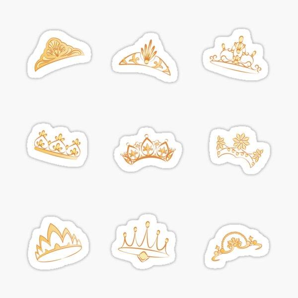 Tiares dorées médiévales de reine et princesse stickers Sticker
