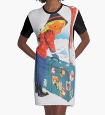 Winter in Austria Vintage Travel Poster Graphic T-Shirt Dress