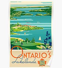 Ontario's Lakelands, Canada Vintage Travel Poster Poster