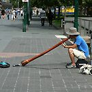 Didgeridoo player, Southbank Melbourne  by Maggie Hegarty
