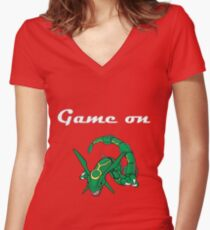 Game on Rayquaza Women's Fitted V-Neck T-Shirt