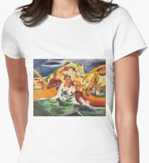 Vintage famous art - August Macke - Native Sea Fight Womens Fitted T-Shirt