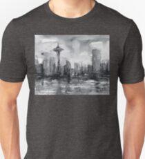 Seattle Skyline Painting Watercolor Unisex T-Shirt