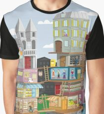The French Village Build Up Graphic T-Shirt
