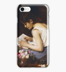 Vintage famous art - Alexej Alexejewitsch Charlamoff - A Girl Reading iPhone Case/Skin