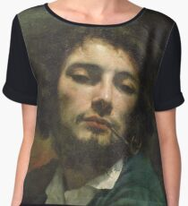 Vintage famous art - Gustave Courbet - Self Portrait Or, The Man With A Pipe Chiffon Top