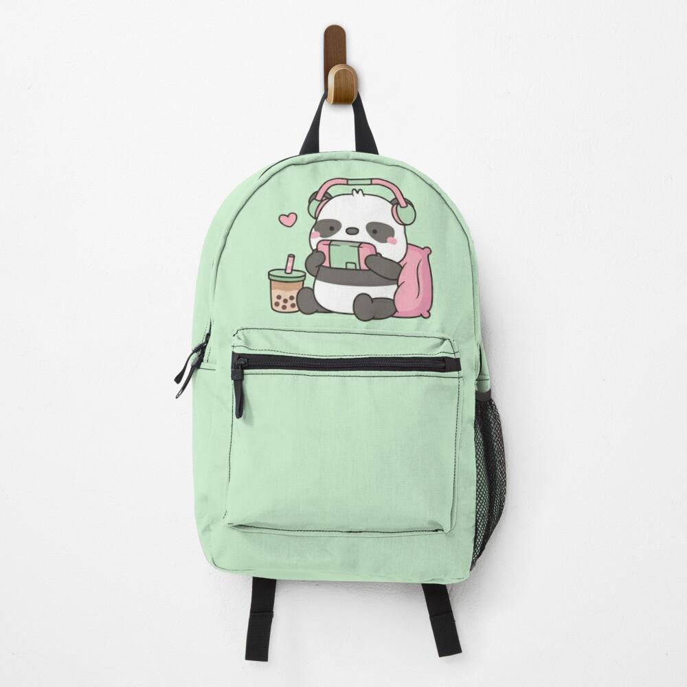 Cute Little Panda Gamer With Headphones Backpack