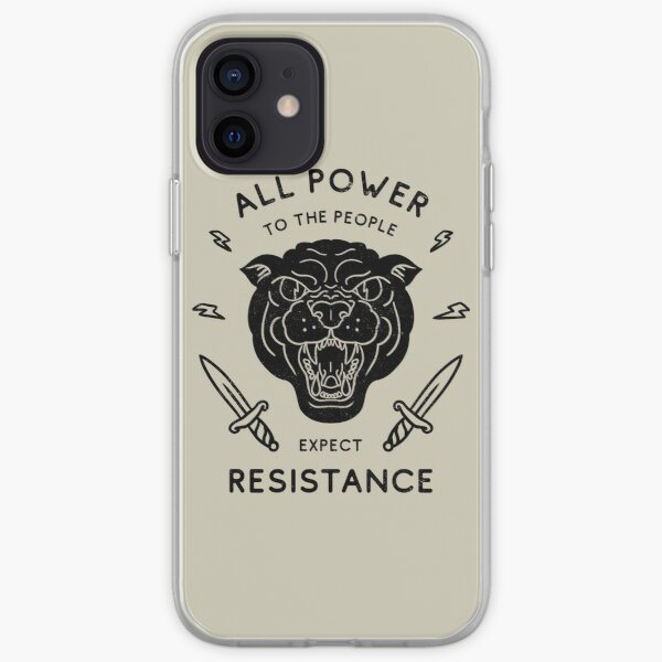 Black Panther - All Power to the People - Expect Resistance | Black Owned BLM Black Lives Matter | Original Art Pillowcase | Backpack | Tattoo Style Logo iPhone Soft Case