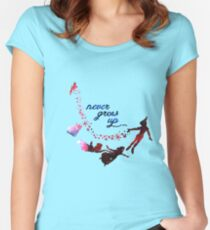 Never Grow Up Nebula Blue Women's Fitted Scoop T-Shirt