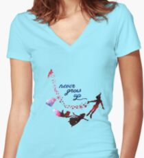 Never Grow Up Nebula Blue Women's Fitted V-Neck T-Shirt