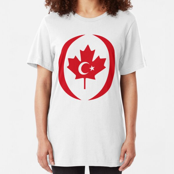 Turkish Canadian Multinational Patriot Flag Series Slim Fit T-Shirt