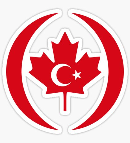 Turkish Canadian Multinational Patriot Flag Series Sticker