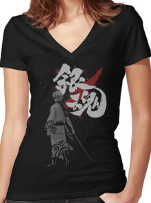 Sakata Gintoki - Gintama anime Women's Fitted V-Neck T-Shirt