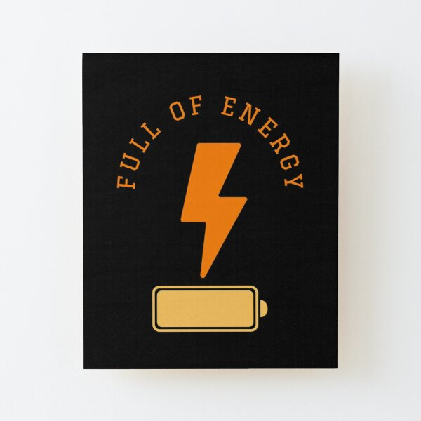 Battery full of energy with a lightning symbol Wood Mounted Print