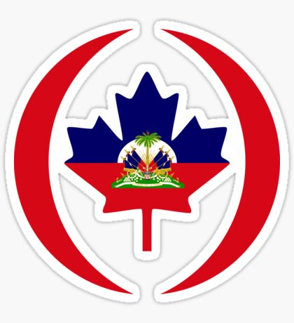 Haitian Canadian Multinational Patriot Flag Series Sticker