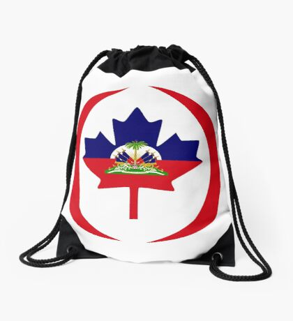 Haitian Canadian Multinational Patriot Flag Series Drawstring Bag