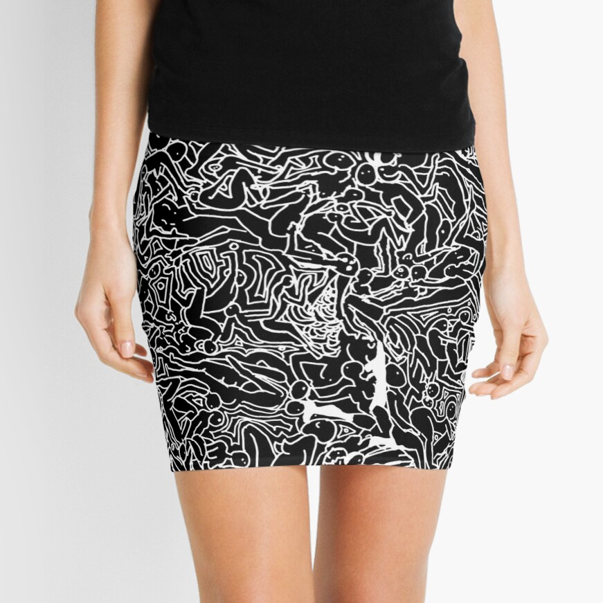Bodies 2 Figures Doodle in Black and White Mini Skirt