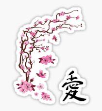 "Japanese cherry tree ""love""   Árbol del cerezo japonés ""amor""  Sticker"