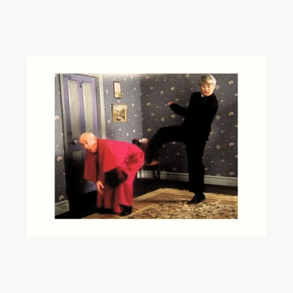 Father Ted - Framed Picture of Bishop Brennan Being Kicked up the Arse Art Print