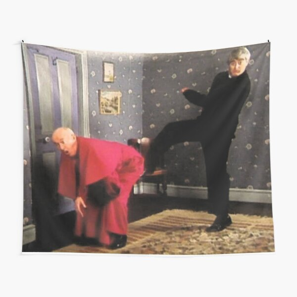Father Ted - Framed Picture of Bishop Brennan Being Kicked up the Arse Tapestry