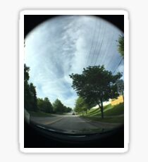 Riding with a fish-eye lens Sticker