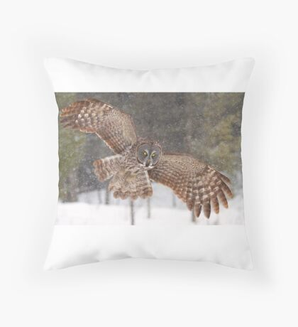 Awesome! - Great Grey Owl Throw Pillow
