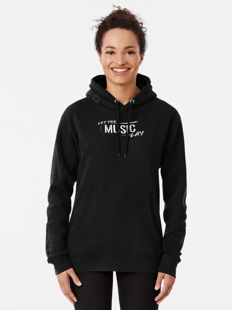 Alternate view of Let The Music Play logo Pullover Hoodie
