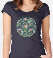 Bamboo, Birds and Blossom - dark teal Women's Fitted Scoop T-Shirt