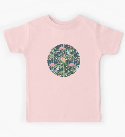 Bamboo, Birds and Blossom - dark teal Kids Clothes