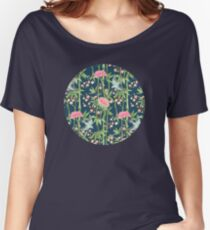 Bamboo, Birds and Blossom - dark teal Women's Relaxed Fit T-Shirt