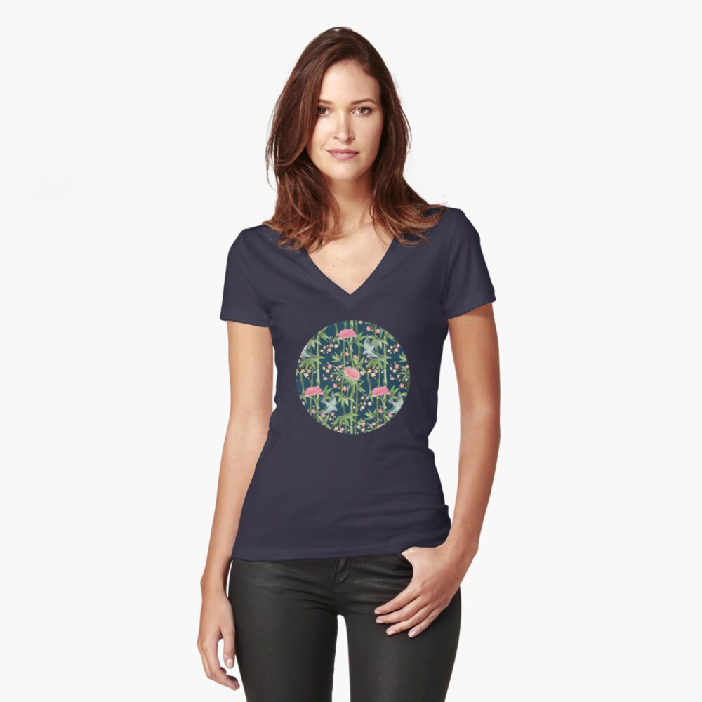 Bamboo, Birds and Blossom - dark teal Fitted V-Neck T-Shirt