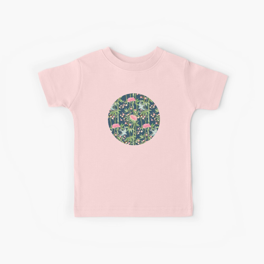 Bamboo, Birds and Blossom - dark teal Kids T-Shirt