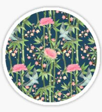 Bamboo, Birds and Blossom - dark teal Sticker