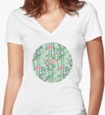 Bamboo, Birds and Blossom - soft blue green Women's Fitted V-Neck T-Shirt