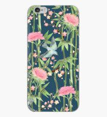 Bamboo, Birds and Blossom - dark teal iPhone Case