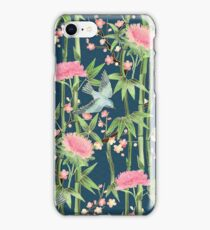 Bamboo, Birds and Blossom - dark teal iPhone Case/Skin