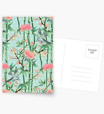 Bamboo, Birds and Blossom - soft blue green Postcards