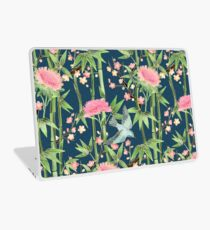 Bamboo, Birds and Blossom - dark teal Laptop Skin