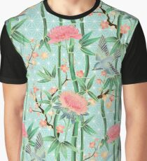 Bamboo, Birds and Blossom - soft blue green Graphic T-Shirt