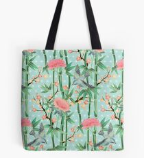 Bamboo, Birds and Blossom - soft blue green Tote Bag