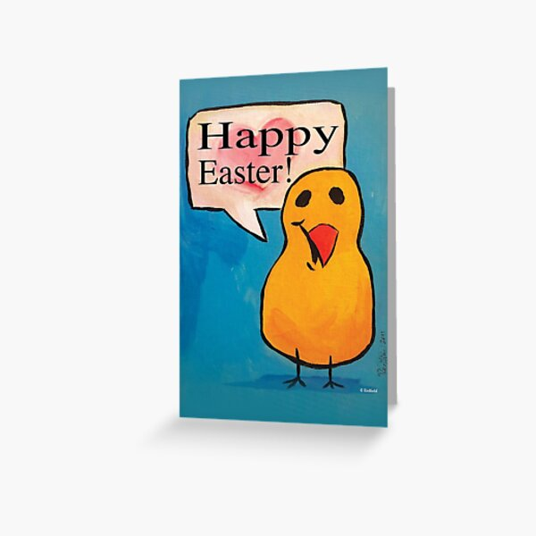 Happy Easter! Peep Card - Painted by Mark Redfield Greeting Card
